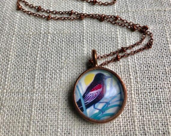 Red Winged Blackbird| Redwinged Blackbird Necklace~copper blackbird necklace~blackbird valentine gift~redwinged blackbird friend gift