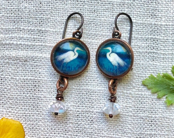 Copper Egret Earrings with Moonstone Dangles|Nature Jewelry|Crane Jewelry|Crane Earrings|Illustrated Egret Earrings|Egret Gift for Wife