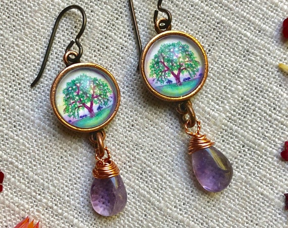 Copper Illustrated Oak Tree Earrings with Amethyst Dangles|Copper Oak Tree art-tree lover earrings-Copper Amethyst Tree of Life