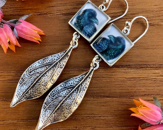 Crow Raven Jewelry||silver raven earrings||raven jewelry gift|raven illustrated jewelry|raven art|raven gift|raven Christmas gift|Raven gift