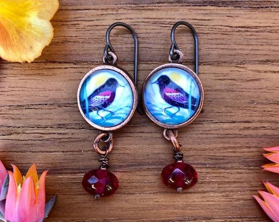 Red-winged Blackbird|bird earrings|naturalist gift|red-winged blackbird gift|Christmas Jewelry|Red-winged blackbird art|nature jewelry|