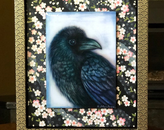 Raven and Cherry Blossoms Canvas Print with Hand Poured Resin/Chiyogami Paper Framed/Raven Art/Raven Gift/Bird Decor/Bird Gift