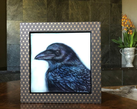 Raven #4 Canvas Print with Hand Poured Resin/Chiyogami Paper Framed/Raven Art/Raven Gift/Raven Decor