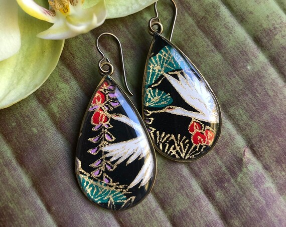 Bronze Earthy Jewelry/nature gift/Sandhill Crane Origami Paper and Resin Earrings/crane earrings/boho earring gift/origami earrings
