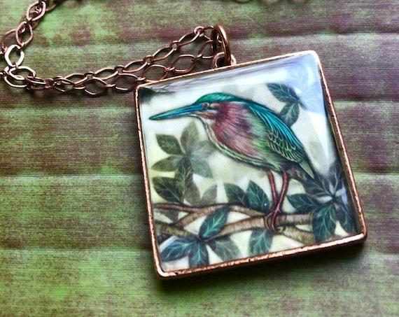Green Heron |green heron necklace| Green Heron Pendant-green heron jewelry-green heron gift-green heron copper necklace-green heron art