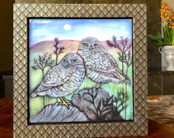 Burrowing Owls Canvas Print with Hand Poured Resin/Chiyogami Paper Framed/Owl Art/Owl Gift/Owl Decor