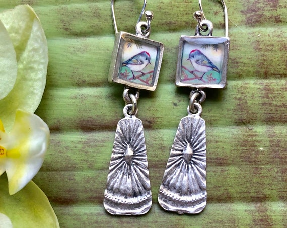 Nature Jewelry Silver Ruby-crowned Kinglet Earrings illustrated Jewelry Ruby-crowned Kinglet gift for her Ruby-crowned Kinglet jewelry