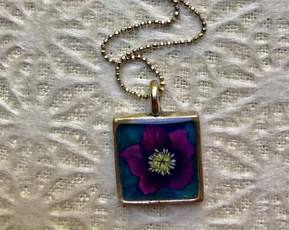 Hellebore Flower gift idea for her ~unique flower gift for her~Hellebore necklace-art pendant- flower jewelry gift-hellebore pendant for her