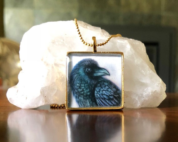 Raven necklace|Raven Pendant|handmade jewelry unique Raven gift for her|Raven jewelry|illustrated raven pendant|