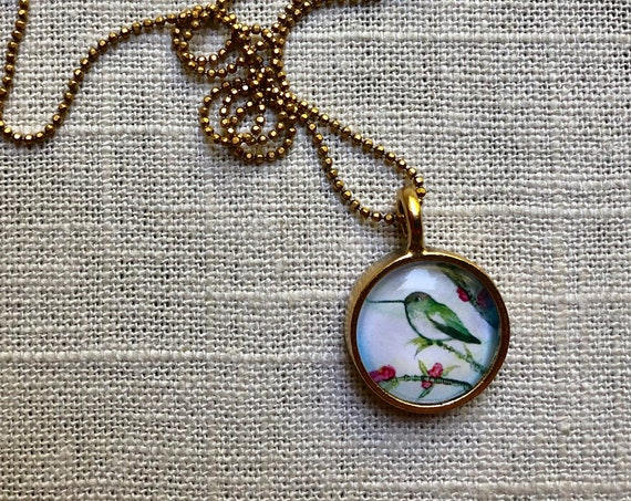 Hummingbird Art Pendant~original bird art by Rachelle Montoya~hummingbird jewelry gift idea for her~hummingbird gift for her~