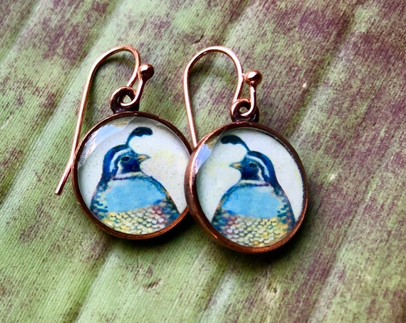 Copper Quail Earrings/Nature Jewelry Gift/quail earrings for her/Earthy Copper Jewelry/Orinthology Gift