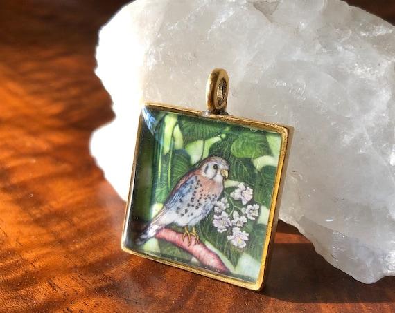 American Kestrel Gold Pendant-kestrel jewelry-kestrel necklace for her-kestrel art-american kestrel-sparrow hawk gift-kestrel original gift