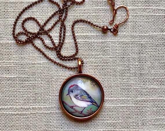 Ruby-crowned Kinglet necklace Ruby-crowned Kinglet Pendant ~handmade jewelry unique Ruby-crowned gift for her~Ruby-crowned Kinglet jewelry