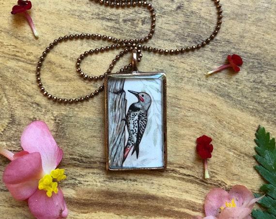 Flicker Pendant~original Flicker art~nature jewelry gift~Northern Flicker jewelry for her~flicker necklace-bird jewelry for wife