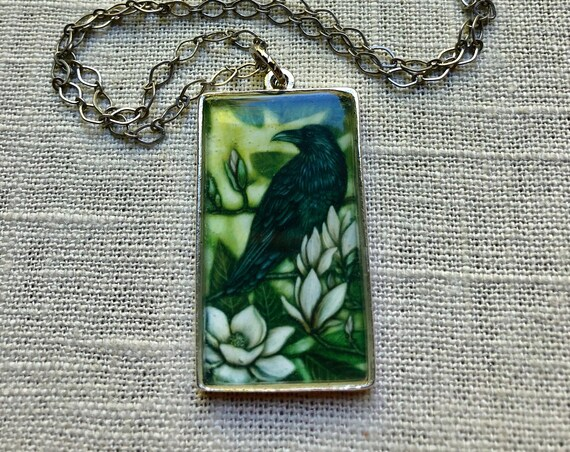 Raven|raven pendant|raven jewelry|raven art pendant|raven necklace|bird watcher gift|raven art|raven gift for her|raven illustrated pendant