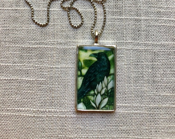 Raven Pendant~original Raven art by Rachelle Montoya~unique jewelry gift~Raven necklace for her~wife jewelry gift