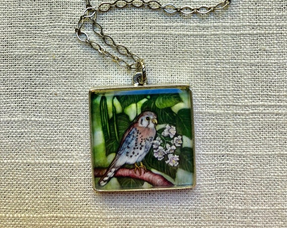 American Kestrel Silver Statement Pendant-kestrel pendant-kestrel art-kestrel gift for her-kestrel jewelry gift-kestrel resin art pendant