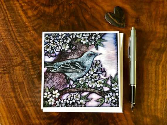 Mockingbird and Blossoms Square Greeting Card