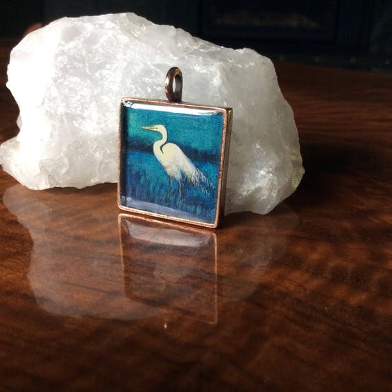 Egret|illustrated Egret necklace|Large Square Egret Pendant|handmade jewelry unique Egret gift for her~Egret jewelry