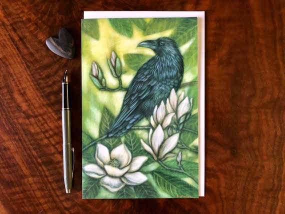 Raven and Magnolia Greeting Card