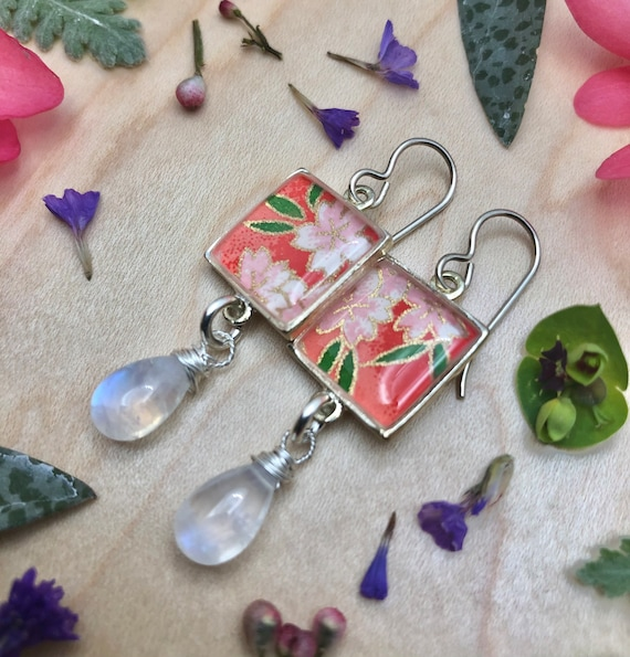 Origami Paper and Resin Dangle Earrings with Moonstone dangles/flower earrings/origami earring gift/origami flower earrings dangle