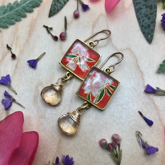 Gold Japanese Origami Paper and Resin Earrings with Mystic Yellow Quartz Gemstone Dangles/flower earrings/chiyogami flower earrings