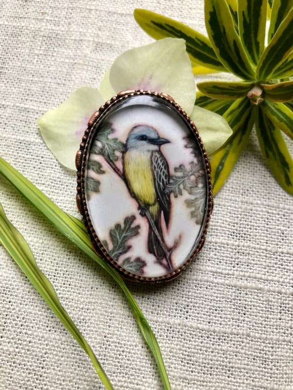 Western Kingbird copper jewelry brooch/Kingbird Art/Kingbird Pendant/bird jewelry/mom gift
