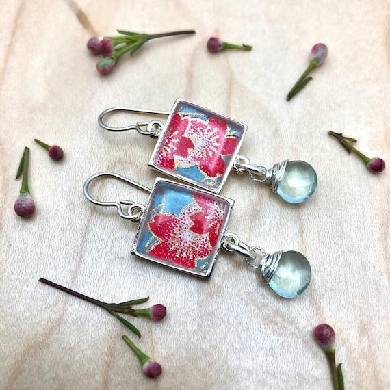 Origami Paper and Resin Earrings/flower earrings/origami earring gift/origami flower earrings