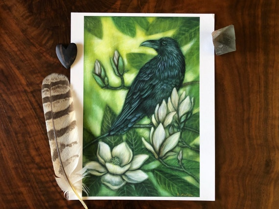 Raven|Raven print|Raven archival print|raven art|Raven decor|Christmas gift for her|Raven and magnolia|magnolia art|magnolia