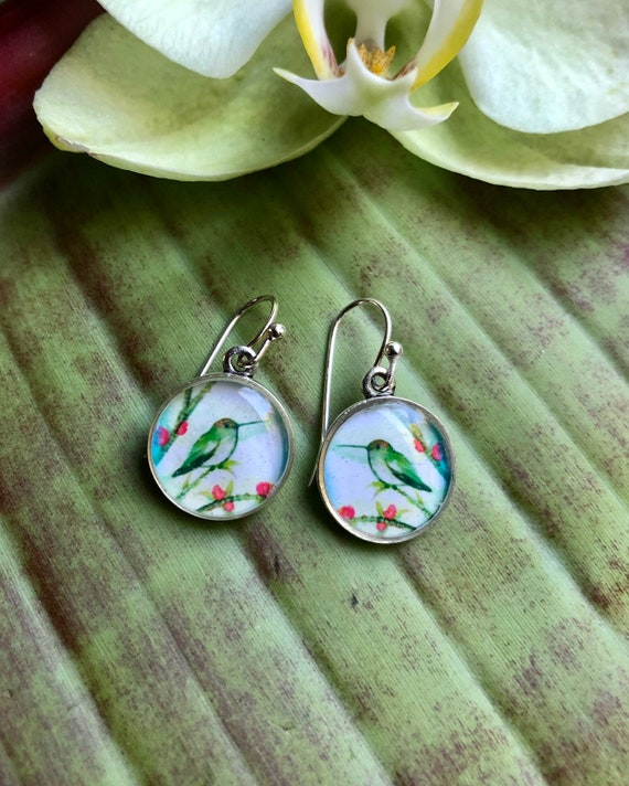 Hummingbird earrings-hummingbird gift for her-hummingbird jewelry-humminbird art-bird lover earrings