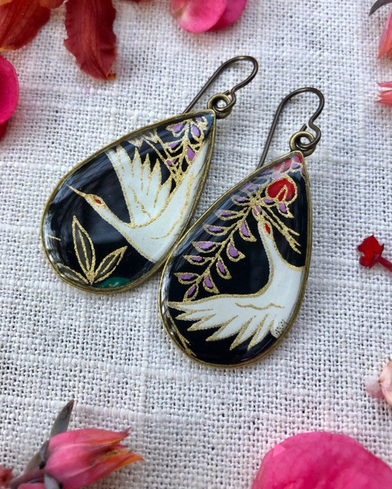 Sandhill Crane Earrings/wife gift/Chiyogami Paper and Resin Earrings/crane earrings/nature earring gift/origami earrings