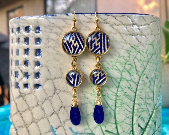 Blue Chiyogami Paper and Resin Earrings with Lapis Lazuli Dangles