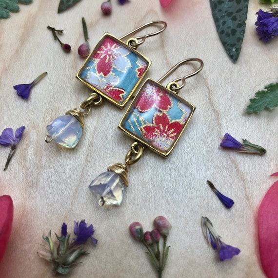 Flower Earrings/Japanese Flower Origami Paper and Resin Gold Earrings with Opalite Hydro Quartz Gemstone Dangles/jewelry gift for mom