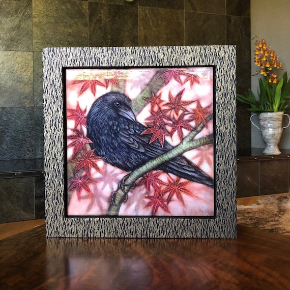 Crow and Japanese Maple Canvas Print with Hand Poured Resin/Chiyogami Paper Framed/Crow Art/Crow Gift/Japanese Maple Decor