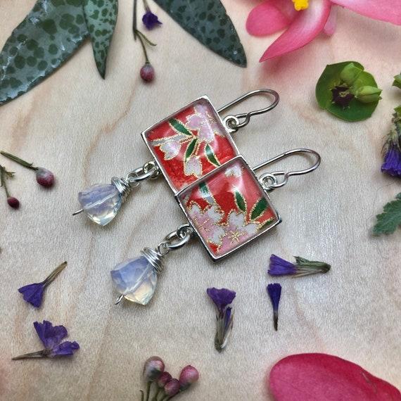 Boho Lux Origami Earrings with Opalite Gemstone dangles/Luxe Red Flower Earrings/origami earring gift/origami flower earrings