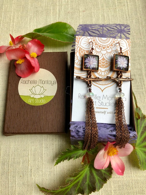 Bitter Root Jewelry Gift Idea~bitterroot copper tassel earrings with moonstone gemstones~flower jewelry~bitterroot jewelry gift