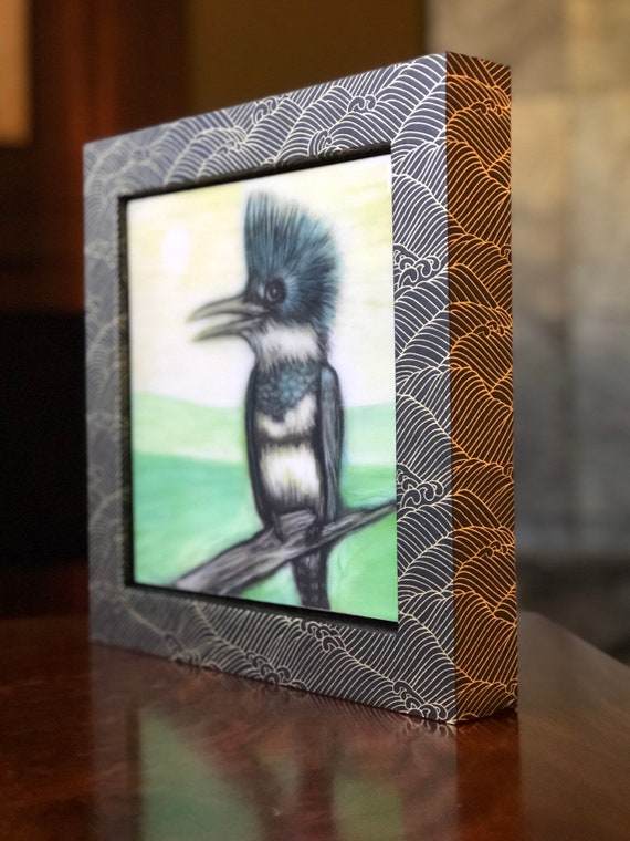 Belted Kingfisher Canvas Print with Hand Poured Resin/Chiyogami Paper Framed/Belted Kingfisher Art/Belted Kingfisher Gift/Bird Gift