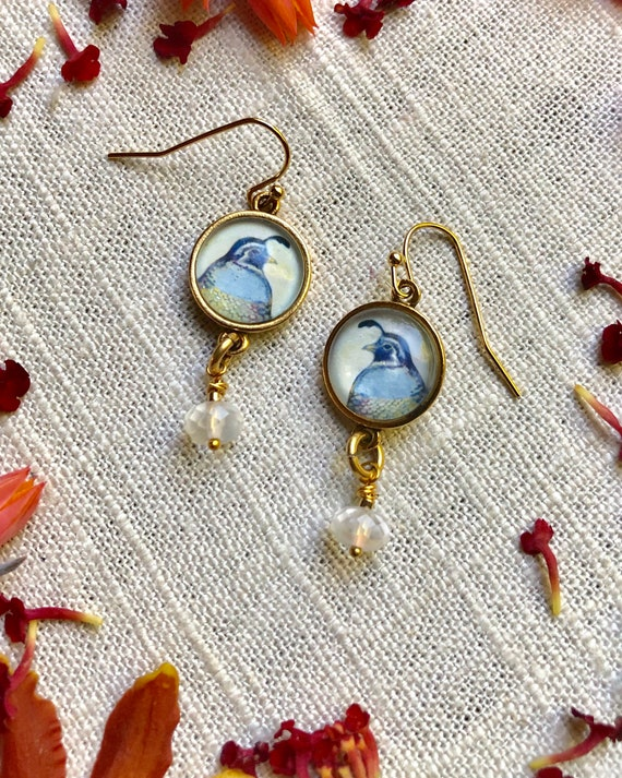Gold Quail Earrings with Moonstone Dangles-gift for wife-Gold Quail Earrings-Moonstone Jewelry-Quail Jewelry Gift-illustrated jewelry