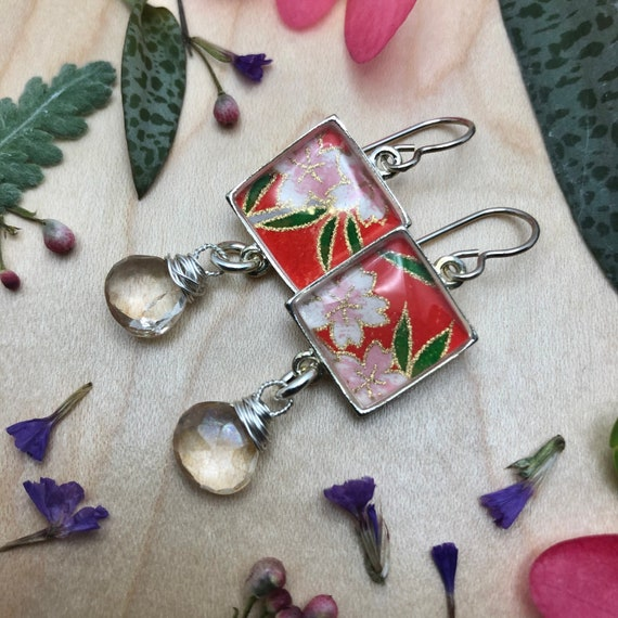 Handmade Paper Jewelry Gift/Silver Japanese Origami Paper and Resin Earrings with Yellow Quartz Gemstone Dangles/boho lux flower earrings
