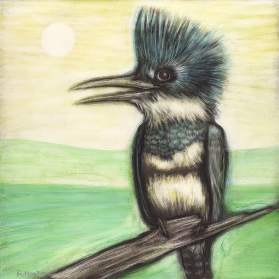 Belted Kingfisher Archival Print Original Ink Painting by Rachelle Montoya
