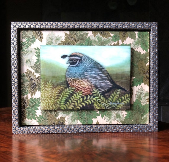 Hand Poured Resin Quail Archival Print/Chiyogami Paper Framed/Quail Art/Quail Gift for Her/Bird Decor/Bird Art/Bird Gift