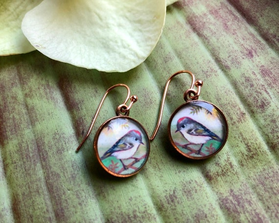 Copper Ruby-crowned Kinglet earrings-nature gift for her-Bird jewelry-Ruby-crowned Kinglet art-Bird lover earrings