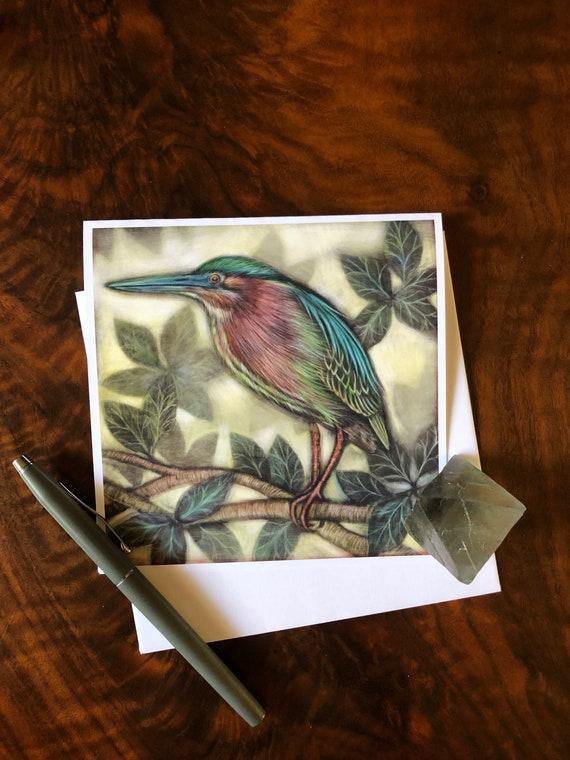 Green Heron Square Greeting Card