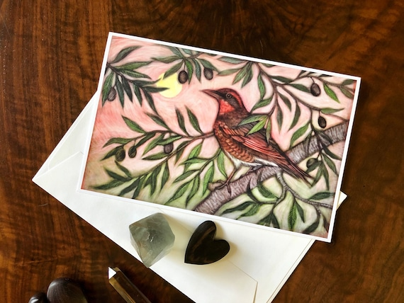 Varied Thrush and Olive Greeting Card