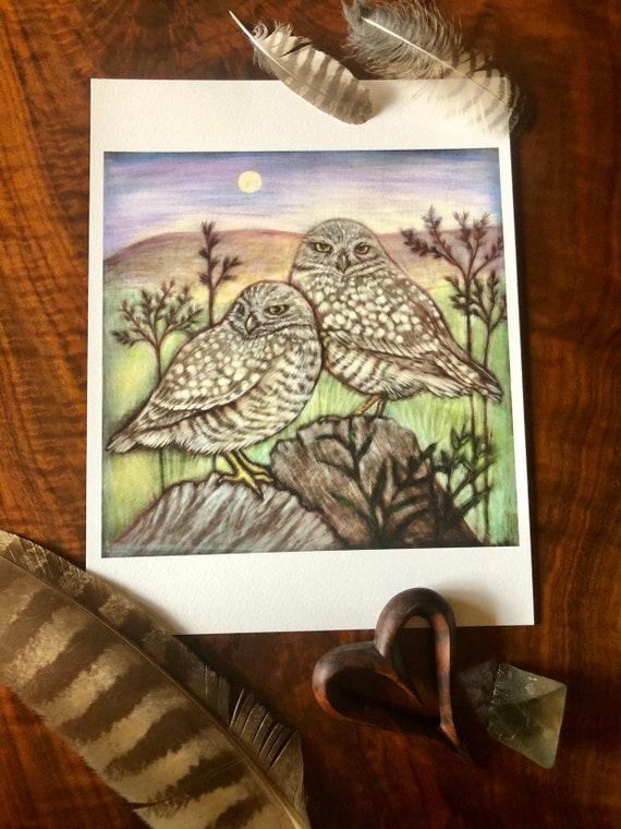 Burrowing Owls Archival Print Original Ink Painting by Rachelle Montoya