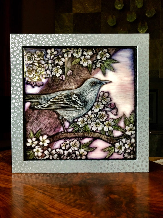 Mockingbird and Blossoms Original Ink Painting
