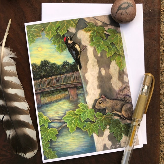 Acorn Woodpecker and Squirrel Greeting Card