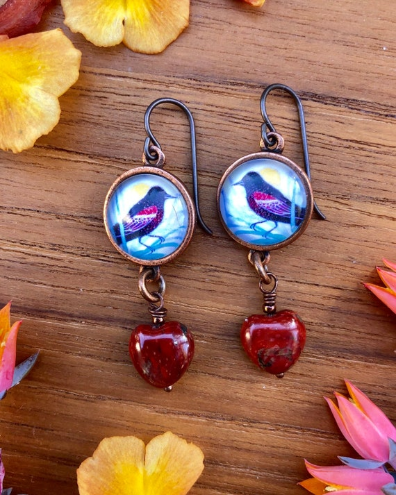 Red-winged Blackbird|red bird earrings|naturalist gift|red-winged blackbird gift|valentine|Red-winged blackbird art|nature jewelry|