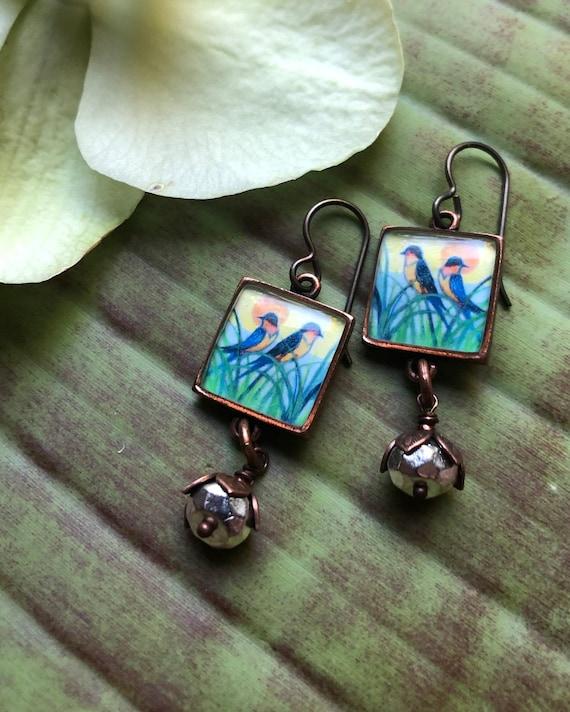 Barn Swallows Small Copper Bird Earrings |Barn Swallow|swallow art|bird jewelry gift|bird earrings|swallow charms|bird charm|