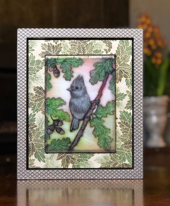 Oak Titmouse and Oak Tree Canvas Print with Hand Poured Resin/Chiyogami Paper Framed/Oak Titmouse Art/Oak Titmouse Gift/Bird Decor/Bird Gift